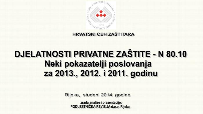 2013 – DJELATNOSTI PRIVATNE ZAŠTITE U RH
