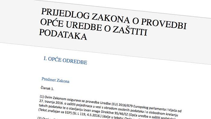 Javno savjetovanje Nacrta prijedloga Zakona o provedbi opće uredbe o zaštiti podataka
